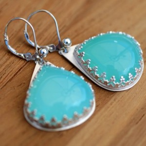 GLOWING & BEAUTIFUL! Aqua Blue Onyx Dangle EARRINGS