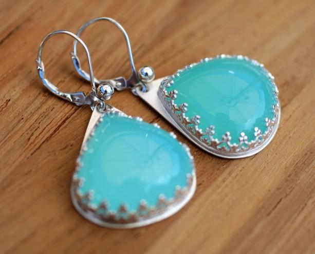 GLOWING & BEAUTIFUL! Aqua Blue Onyx Dangle EARRINGS
