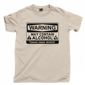 Warning May Contain Alcohol Men's T Shirt, Whiskey Rum Vodka Tequila Bourbon Gin Liquor Beer Wine Unisex Cotton Tee Shirt