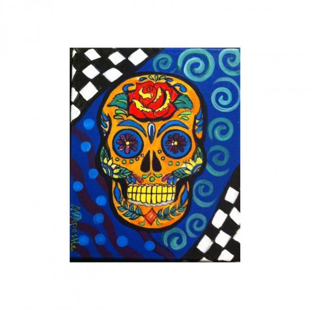 "Mexican Folk Art - ""Sugar Skull #1""- 8""x10"" PRINT Signed By Artist A.V.Apostle"