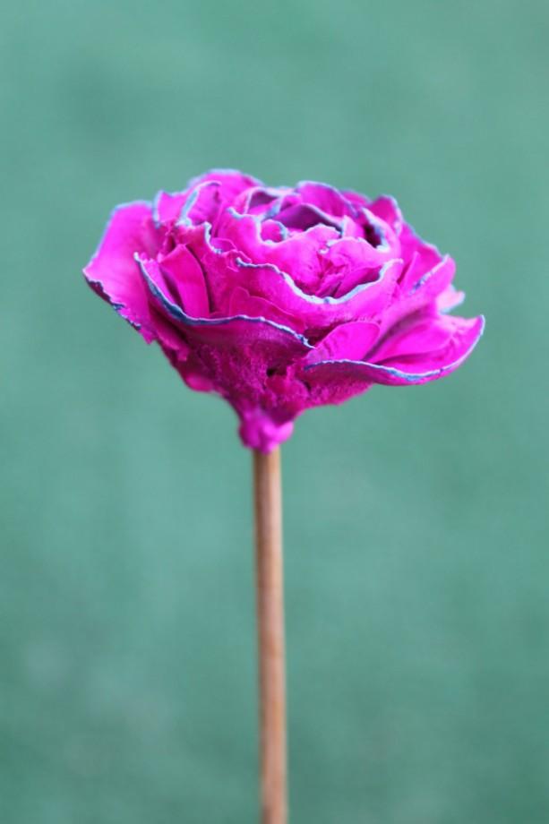 Magenta Hand-Painted Cedar Rose Pine Cone Flower   aftcra