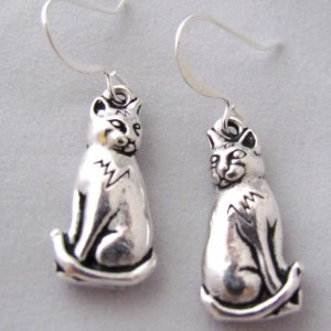Cat Earrings  Sitting Cat Earrings Feline Earrings Pewter Copper Cat Jewelry
