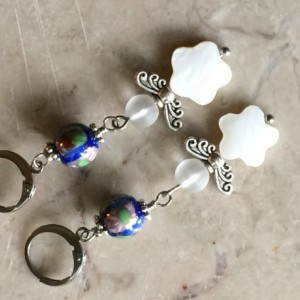 gs Mother pearl Angel wings earrings with blue ceramic beads and lever back hooks. #E00339