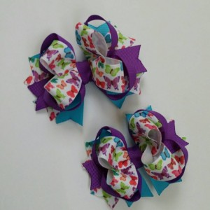 Set of 2 pcs 4 inch pigtails hair bows for girls, small Stacked Boutique Hair Bow, bow girl hair, baby bow