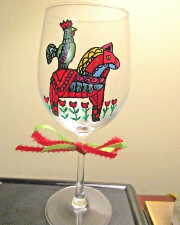 Hand Painted Wine Glass Folk Art Dala Horse and Rooster  12 oz.