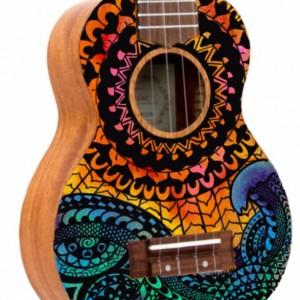 Soprano Galaxy Mandala Ocean Sun Ukulele, Hand Painted Ukulele, Decorated Ukulele, Galaxy Paint, instrument, ukelele, concert, tenor, barito