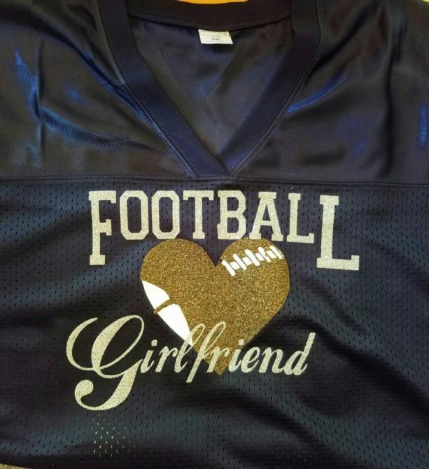631aa18e6 ... Custom Football Player Girlfriend Jersey School spirit Jersey in Team  Colors glitter and bling football girlfriend ...
