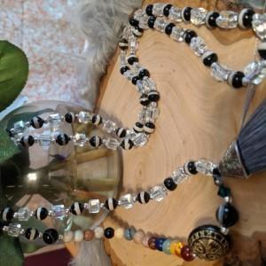 Mala Prayer Beads Swarovski Crystal And Tibetan Agate