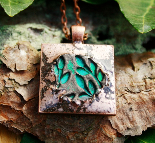 Rustic copper pendant and necklace with stunning green foliage imprint