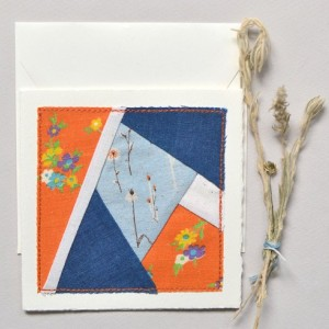 Modern quilt block card -- handmade fabric patchwork stitched to blank card