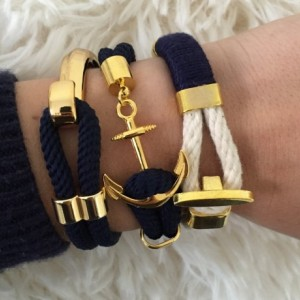 Navy Blue Rope Bracelet with Gold Anchor Closure