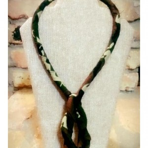 Green Camouflage Tribal Necklace, Textile Single Strand Rope Necklace, Fabric Necklace, Boho Rope Jewelry, Boho Necklace, Tribal Necklace