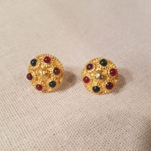 Authentic Iconic Designer Button Earrings Gold and red, Insignia Ring Classic Designer Up-Cycled Button Jewelry