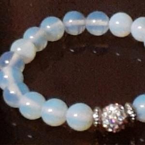Moonstone Beaded Bracelet | Gemstone Chakra Bracelet | New Beginnings, Intuition & Positivity Stretch Bracelet With Pave Crystal