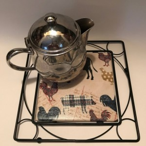 Custom Trivets-Ceramic Tile Trivet-Farm Animals-Black Metal Square Holder-Kitchen and Dining-Kitchenware-Personalized Trivet-Housewarming