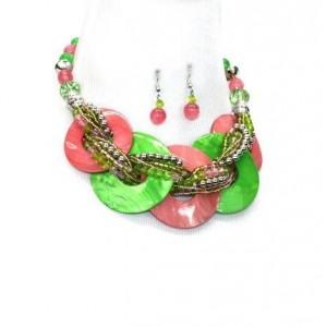 Alpha Kappa Alpha Green & Pink Inspired Beads Necklace Set
