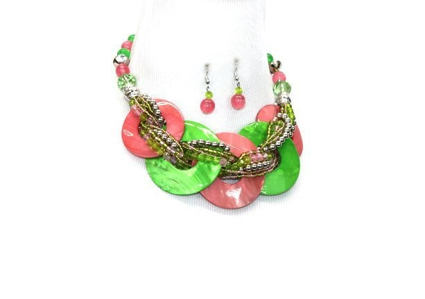 Alpha Kappa Alpha Green & Pink Inspired Beads Necklace Set