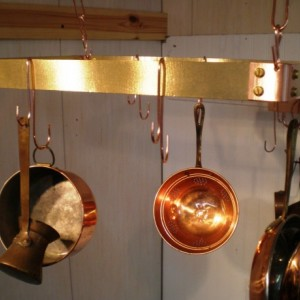 "18"" X 12""  X 1.5"" Brass and Copper Hanging Pot Rack and 6 Double ""J"" hooks FREE U S Shipping Made in USA"