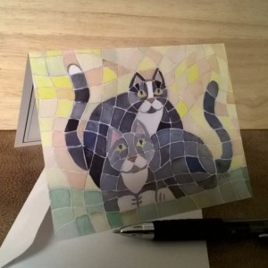 Gray Cats Note Card set-  w/ envelopes