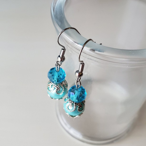 Beautiful Blue Handmade Dangle Drop Earrings