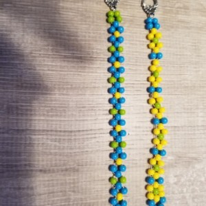 Beaded Bracelet Bright Blue OR Bright Yellow Size Small 5""