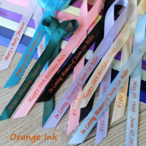10 Personalized Ribbons with orange ink 3/8 inches wide (unassembled)