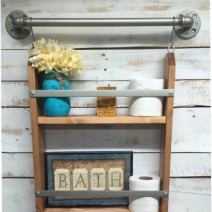 Ladder shelf, rustic bathroom shelf, ladder storage, ladder shelving unit, wood wall shelves, wooden wall shelves, ladder, shelf