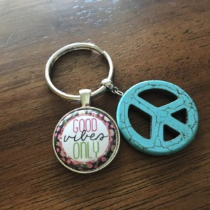 Peace Sign Keychain, Good Vibes Key Chain, Peace Keychain, Boho Key Ring, Hippy Key Chain, Positive Key Ring, Bohemian, Purse Clip, Bag Clip