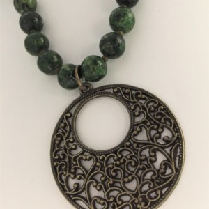 Pretty Green Chrysocolla Beaded Necklace, Green Necklace Brass Pendant
