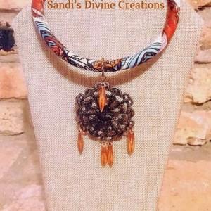 Ankara Necklace, African Print Necklace, Afrocentric Pendant Necklace, African Fabric Necklace, Ankara African Print, Wax Print Necklace