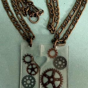Steampunk Couples Necklace Set