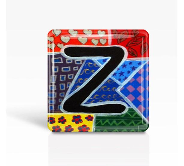 "ALPHABET Letter ""Z"" - Glass MAGNET By Artist A.V.Apostle- 2""x 2"""