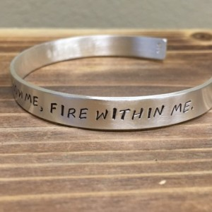 Sky Above Me, Earth Below Me, Fire Within Me cuff bracelet