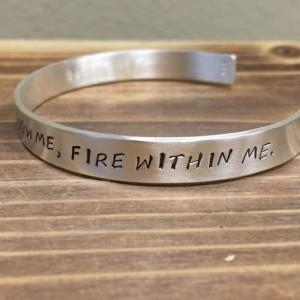 Sky Above Me, Earth Below Me, Fire Within Me cuff bracelet