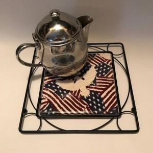 Custom Trivets-Ceramic Tile Trivet-American Flag-Black Metal Square Holder-Kitchen and Dining-Kitchenware-Personalized Trivet-Kitchen Gifts