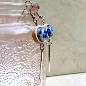 New style- wood, Sodalite Stone, and silver tassel dangling earrings, blue and white gemstone