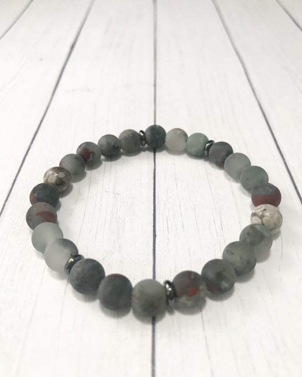 The Neo | handmade frosted bead stretch bracelet, fossil crinoid, matte African bloodstone, gunmetal steel, men's / unisex, Gifts for Him