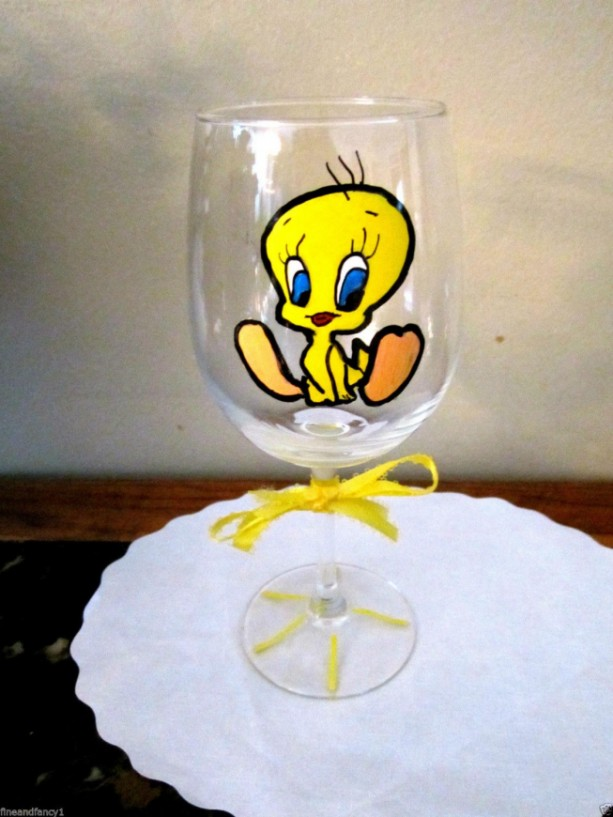 Hand Painted Wine Glass TWEETY BIRD- 12 oz. Glass