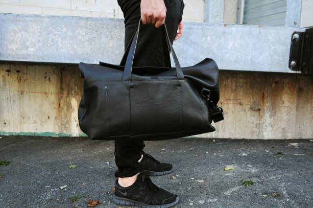 Black Leather Roll-Top Duffle Bag
