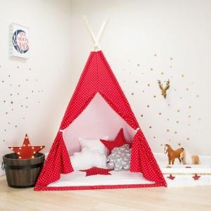 Red with White Mini Stars Kids Teepee Set