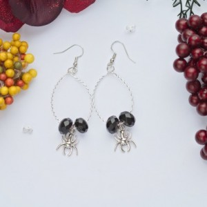 Wire wrapped wire hoop Halloween spooky spider earrings/Under 20 dollars/Nickel free/Unique/Black glass beads