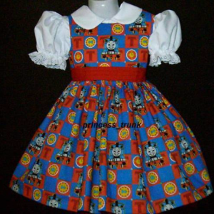 NEW Handmade Cute Thomas the Tank Patchworks Dress Custom Size 12M-14Yrs