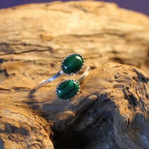 Sterling Silver  and Malachite Adjustable Ring