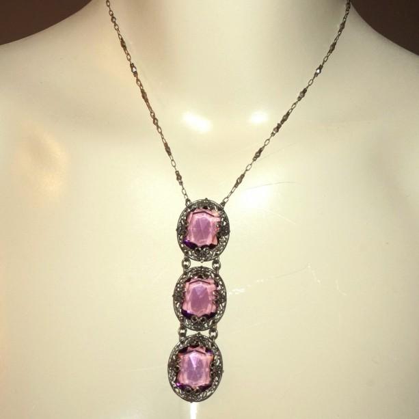 Antique Vintage Art Nouveau Open Back Crystal Filigree Sautoir Necklace