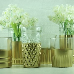 Wedding Vase Collection Set of 6 Gold Dipped - Candle Holders - Bud Vase Set - Rustic Glam Wedding - Gold Votives - Small Flowers Vases