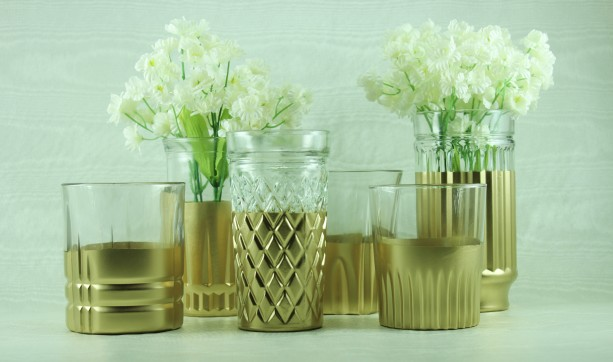 Vintage Gold Dipped Vase Collection Set Of 6 Aftcra