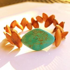 Turquoise & Wood Bracelet