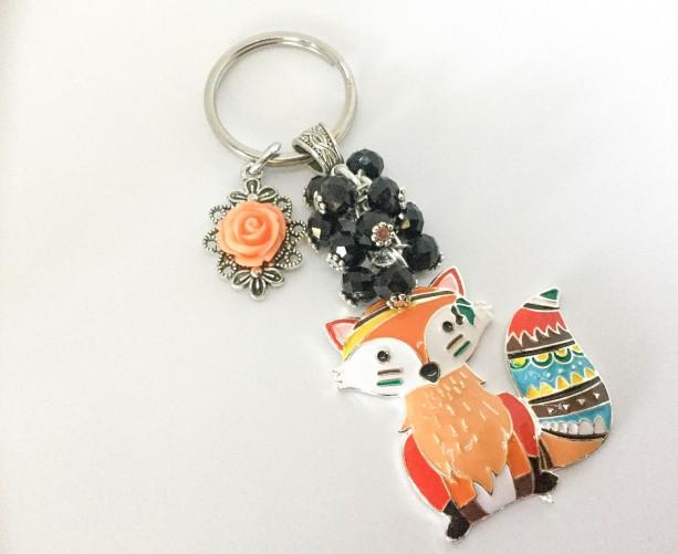 Keychain, Bohemian Keychain, Key Ring, Bohemian, Fox Keychain, Car Accessories,  Gift For Her, Ready To Ship, Bag Clip