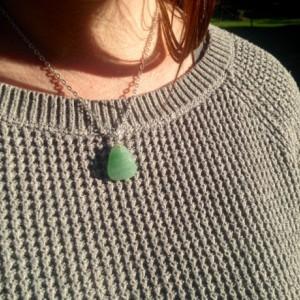 Adventurine Gemstone Necklace, Chakra stones, Reiki, Yoga Jewelry. Ooak