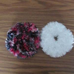 Hand Knit Scrunchies- Pink Poodle and Dove